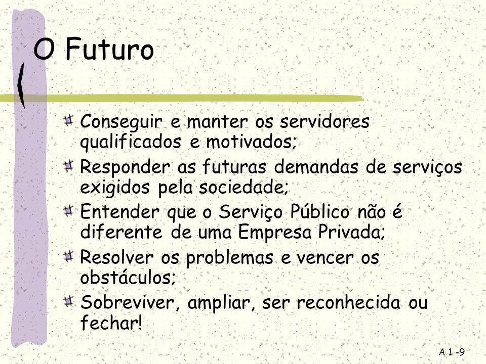 O Futuro Conseguir e manter os servidores qualificados e motivados;