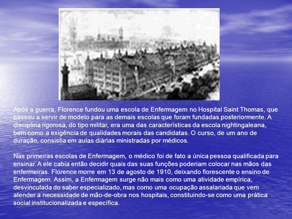 Após a guerra, Florence fundou uma escola de Enfermagem no Hospital Saint Thomas, que passou a servir de modelo para as demais escolas que foram fundadas posteriormente.