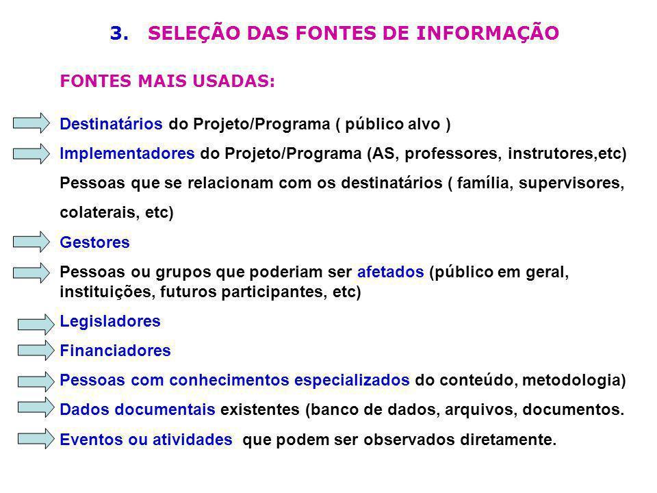 3. SELEÇÃO DAS FONTES DE INFORMAÇÃO