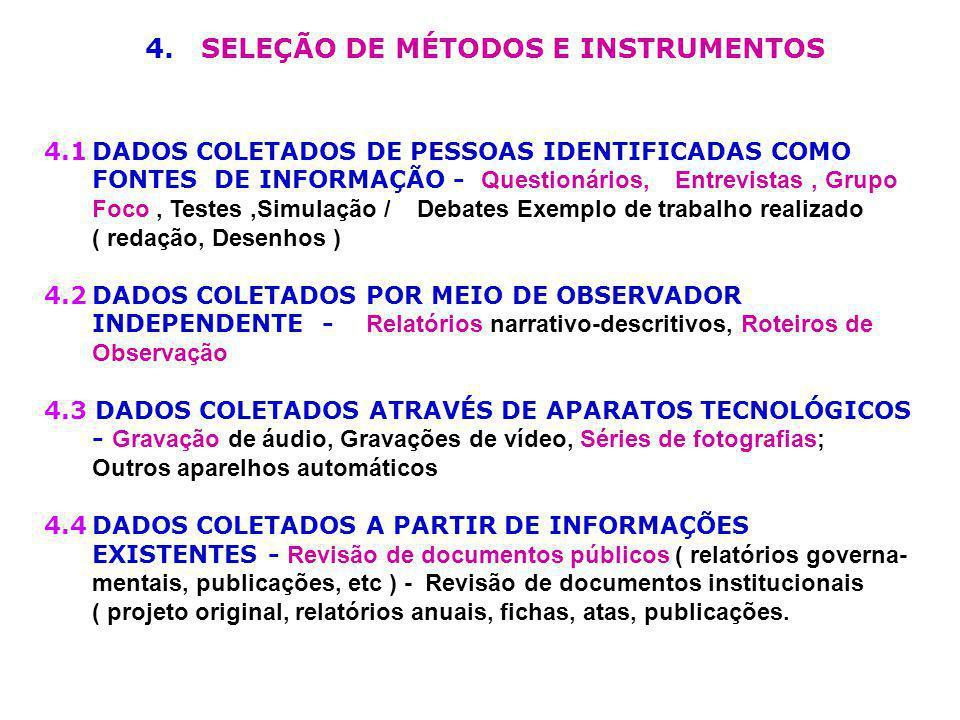 4. SELEÇÃO DE MÉTODOS E INSTRUMENTOS