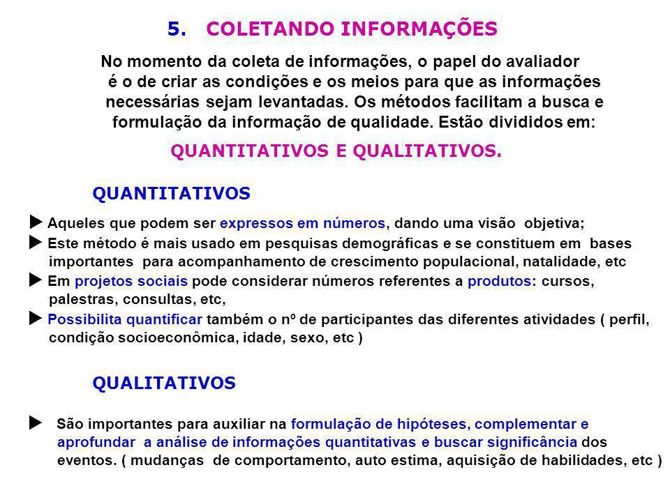 5. COLETANDO INFORMAÇÕES QUANTITATIVOS E QUALITATIVOS.