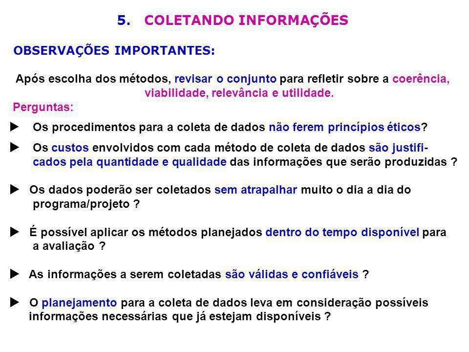 5. COLETANDO INFORMAÇÕES viabilidade, relevância e utilidade.