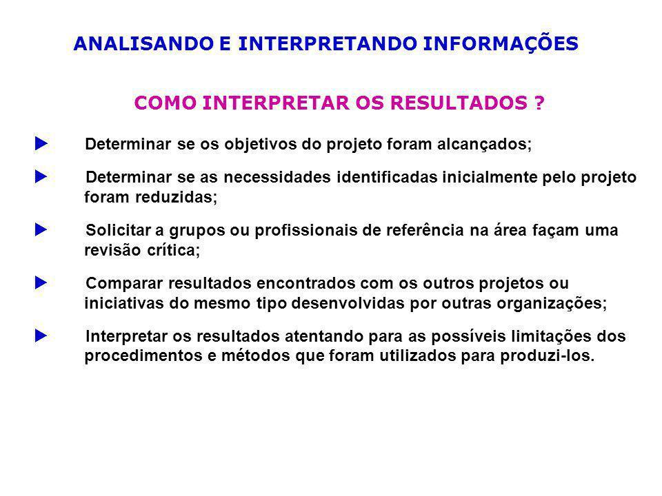 ANALISANDO E INTERPRETANDO INFORMAÇÕES