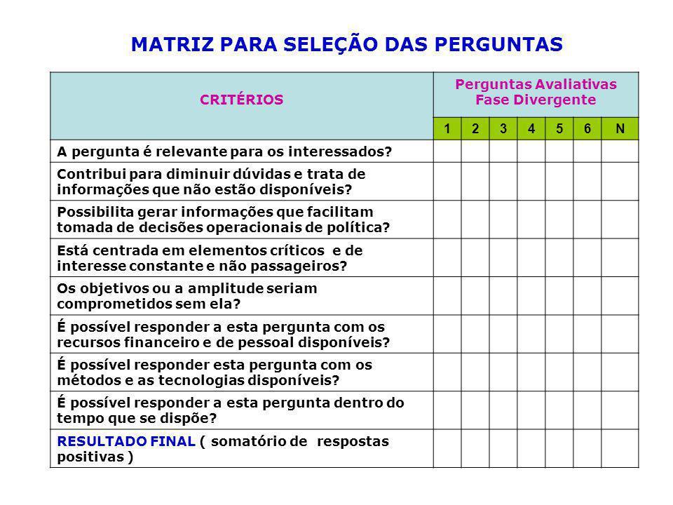 MATRIZ PARA SELEÇÃO DAS PERGUNTAS Perguntas Avaliativas