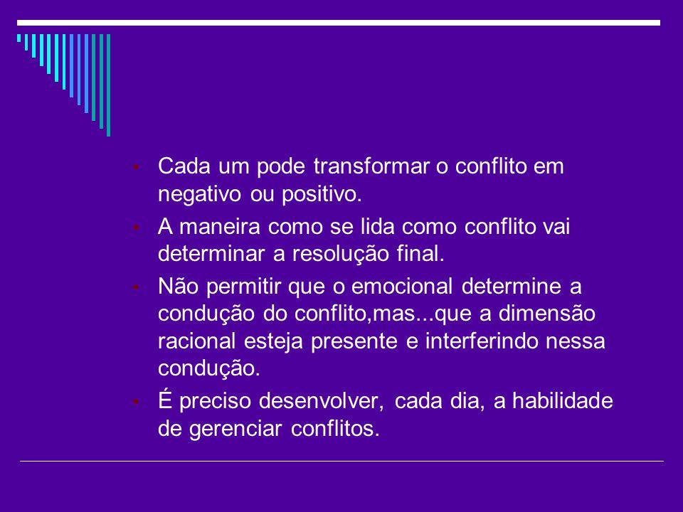 Cada um pode transformar o conflito em negativo ou positivo.