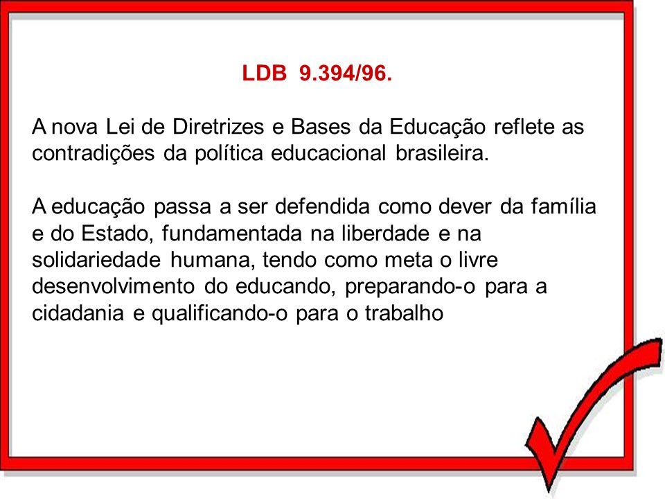 LDB 9.394/96. A nova Lei de Diretrizes e Bases da Educação reflete as contradições da política educacional brasileira.