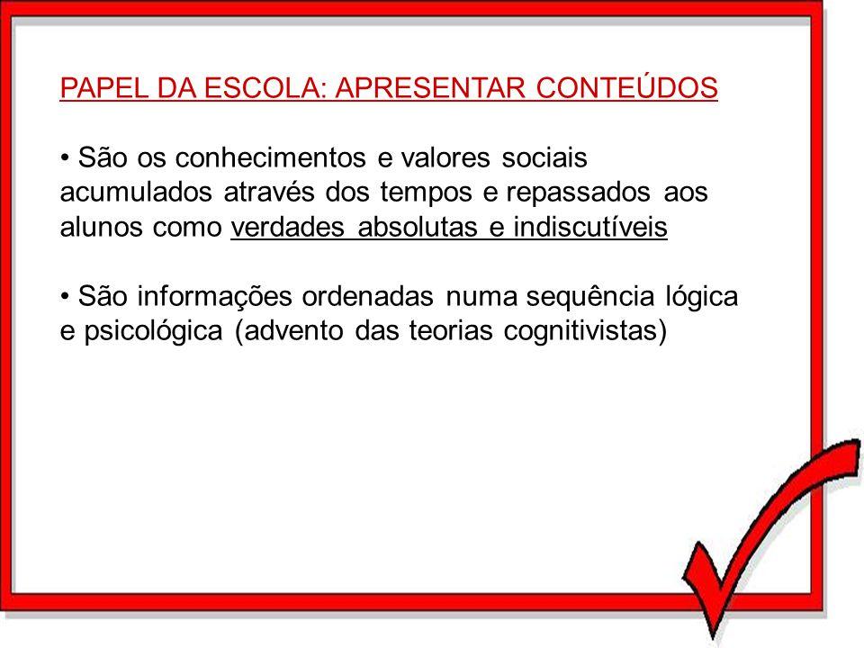 PAPEL DA ESCOLA: APRESENTAR CONTEÚDOS