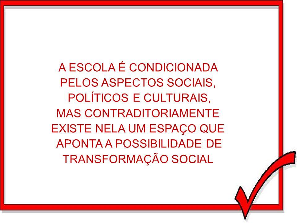 A ESCOLA É CONDICIONADA PELOS ASPECTOS SOCIAIS, POLÍTICOS E CULTURAIS,