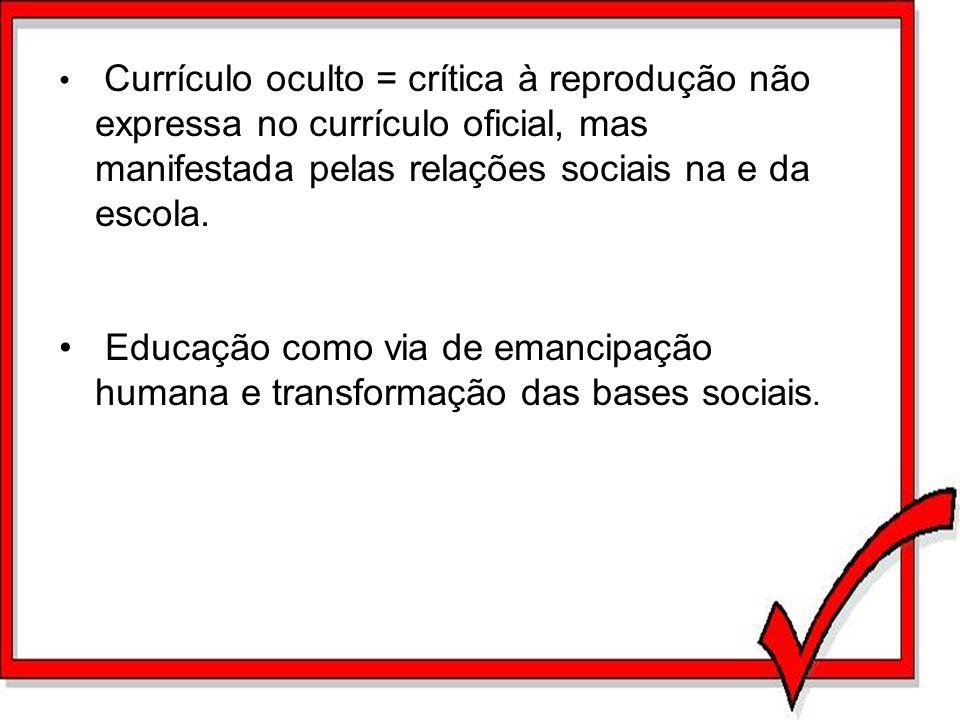 Currículo oculto = crítica à reprodução não expressa no currículo oficial, mas manifestada pelas relações sociais na e da escola.