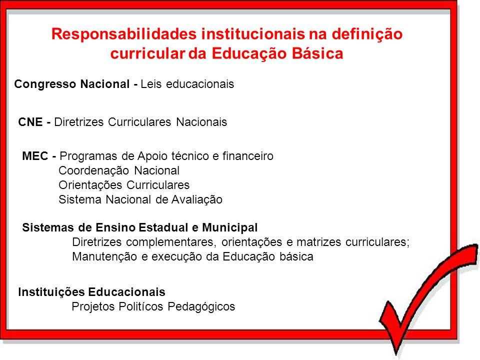Responsabilidades institucionais na definição