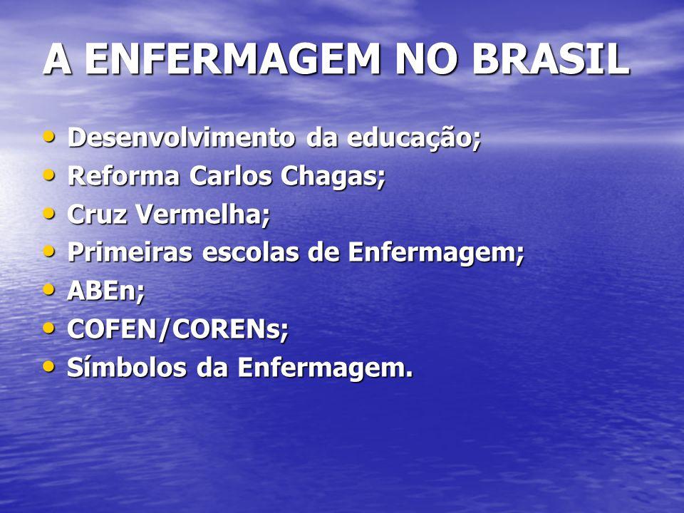 A ENFERMAGEM NO BRASIL Desenvolvimento da educação;