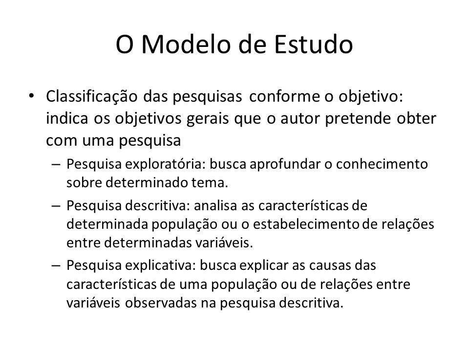 O Modelo de Estudo Classificação das pesquisas conforme o objetivo: indica os objetivos gerais que o autor pretende obter com uma pesquisa.