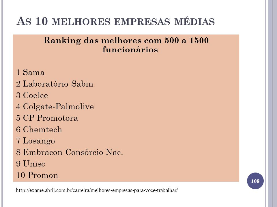 As 10 melhores empresas médias