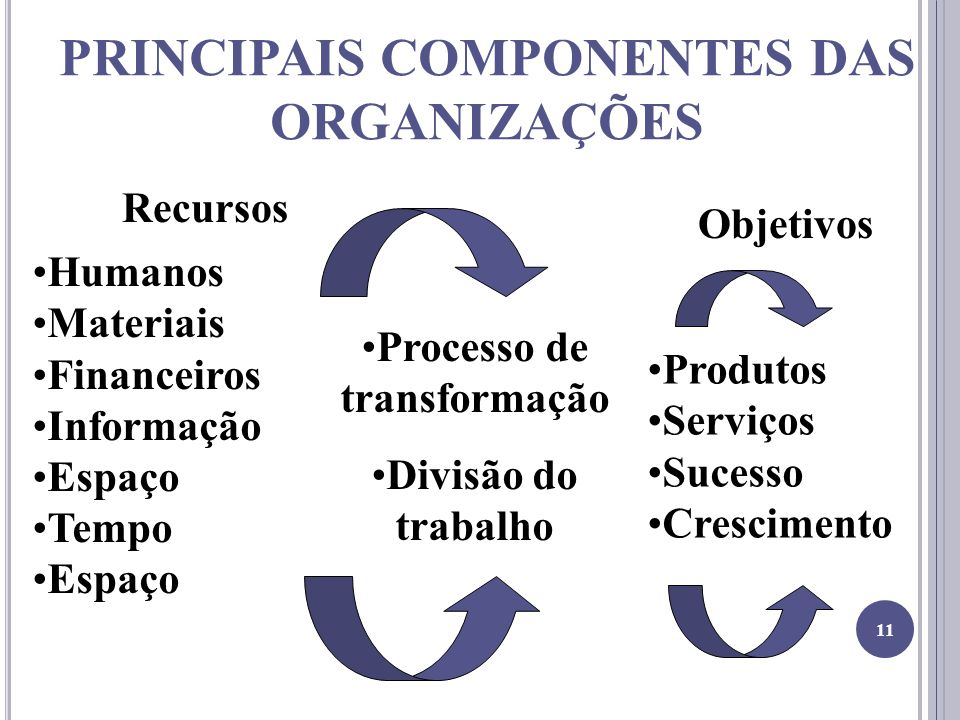PRINCIPAIS COMPONENTES DAS ORGANIZAÇÕES