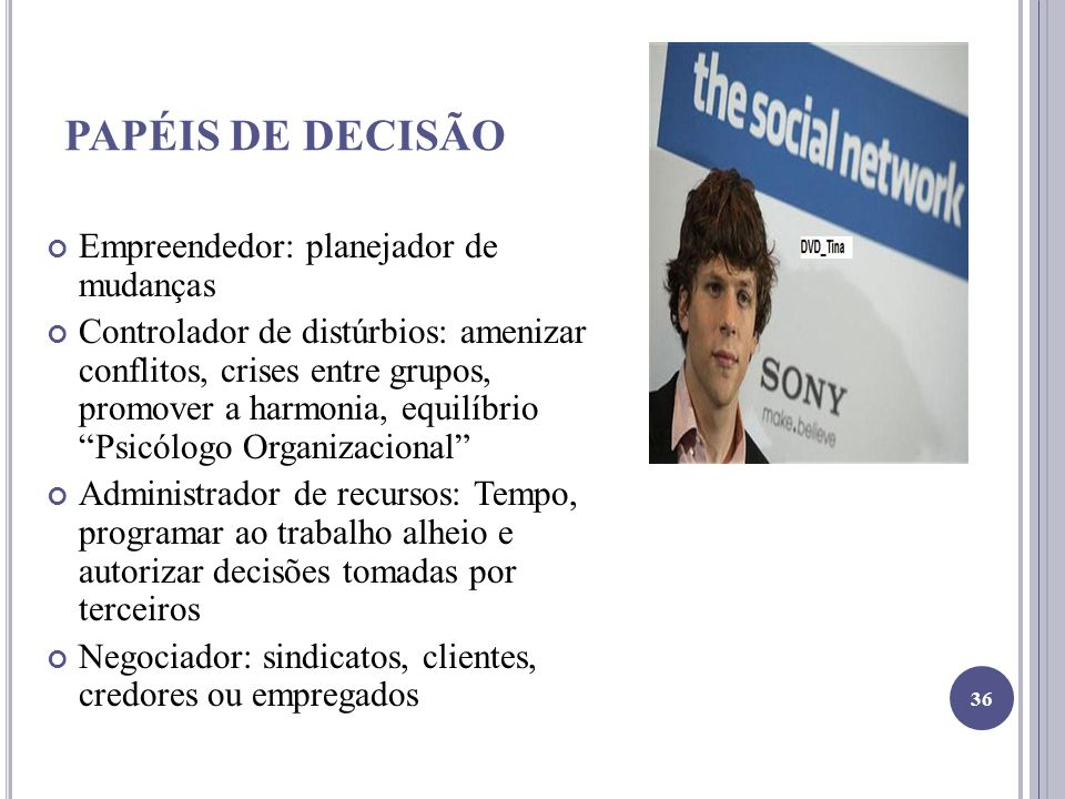 PAPÉIS DE DECISÃO Empreendedor: planejador de mudanças