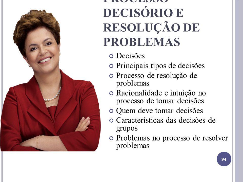 PROCESSO DECISÓRIO E RESOLUÇÃO DE PROBLEMAS