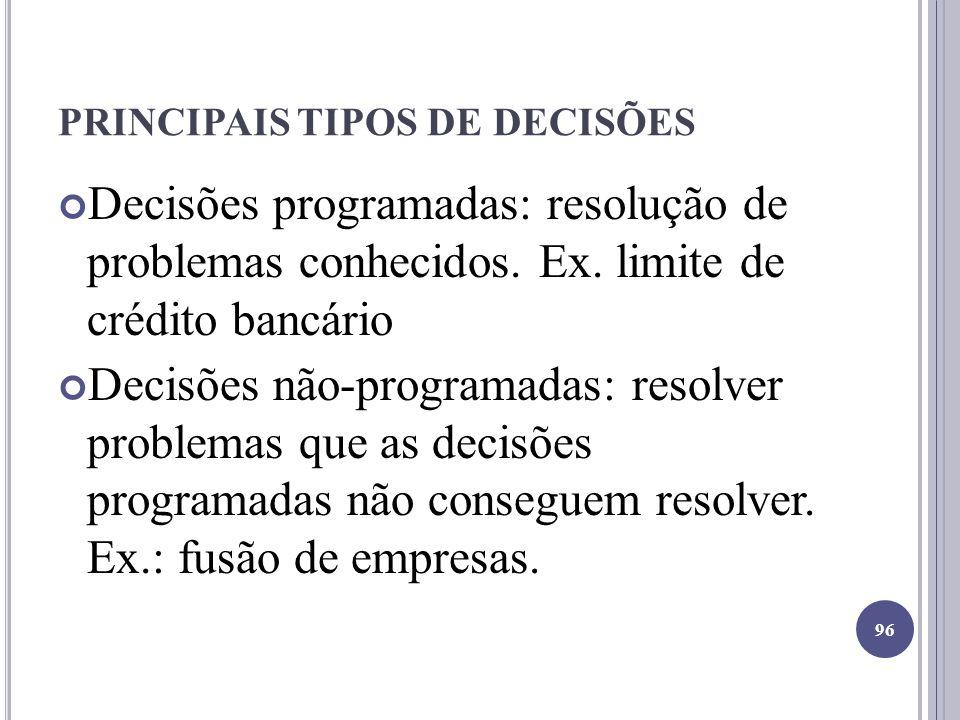 PRINCIPAIS TIPOS DE DECISÕES