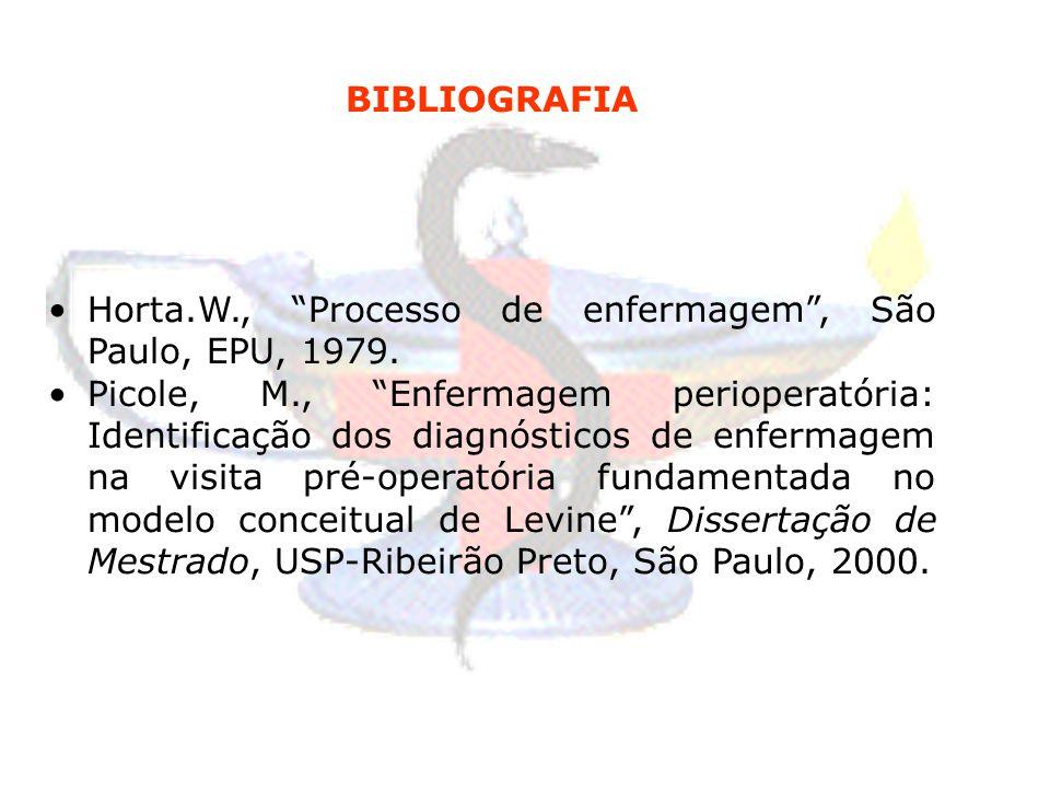 BIBLIOGRAFIA Horta.W., Processo de enfermagem , São Paulo, EPU, 1979.