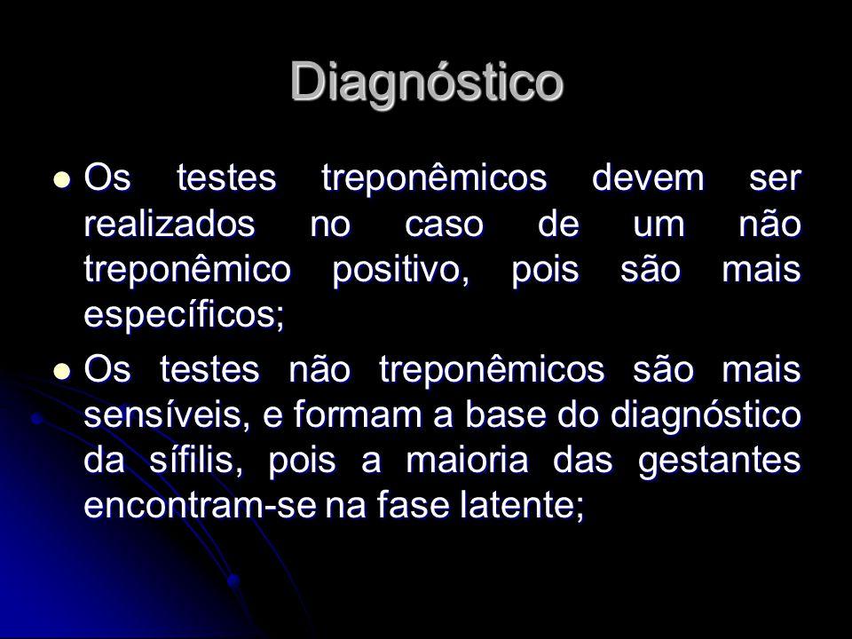 Diagnóstico Os testes treponêmicos devem ser realizados no caso de um não treponêmico positivo, pois são mais específicos;