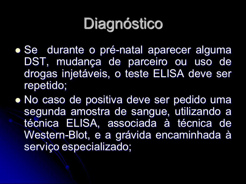 Diagnóstico Se durante o pré-natal aparecer alguma DST, mudança de parceiro ou uso de drogas injetáveis, o teste ELISA deve ser repetido;