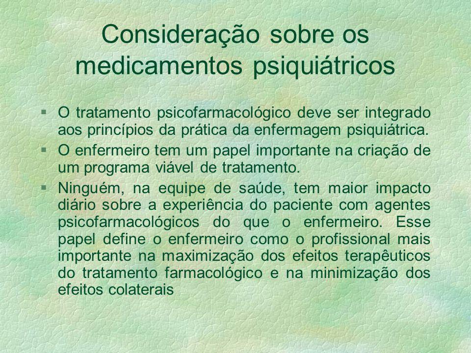Consideração sobre os medicamentos psiquiátricos