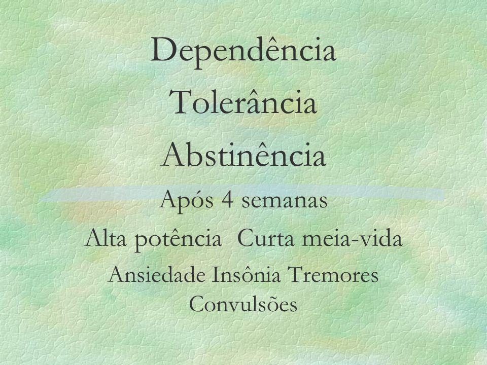 Dependência Tolerância Abstinência Após 4 semanas