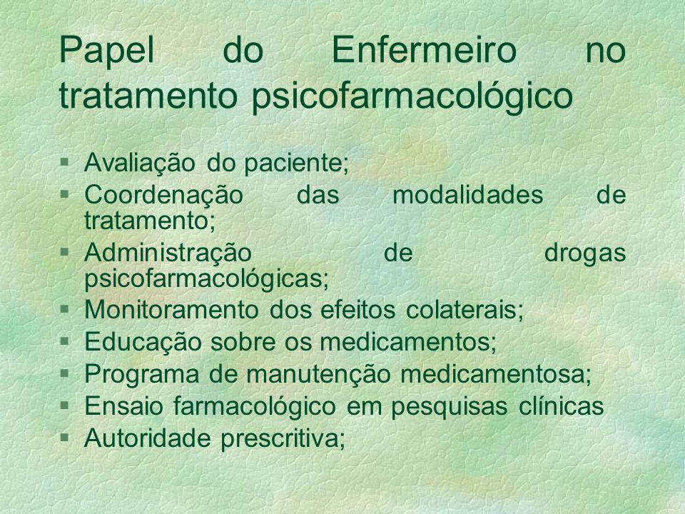 Papel do Enfermeiro no tratamento psicofarmacológico