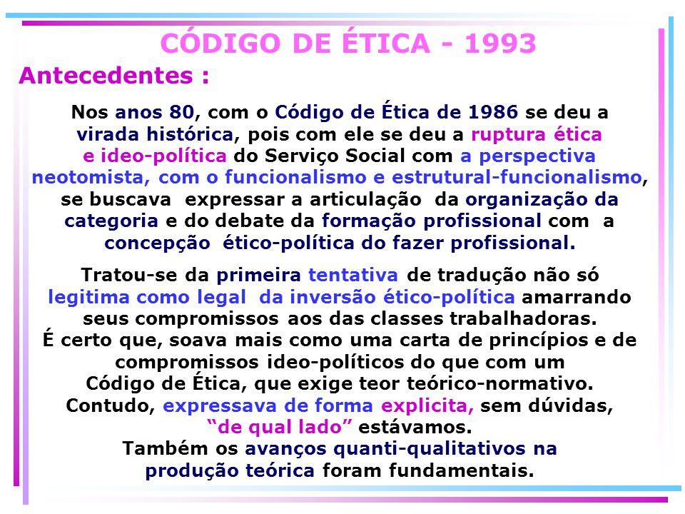 CÓDIGO DE ÉTICA - 1993 Antecedentes :