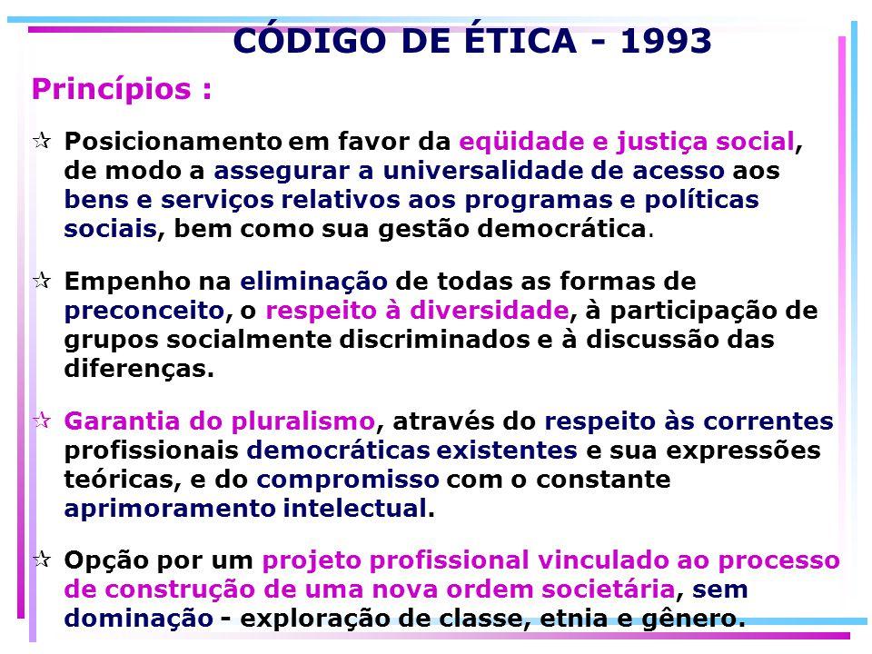 CÓDIGO DE ÉTICA - 1993 Princípios :
