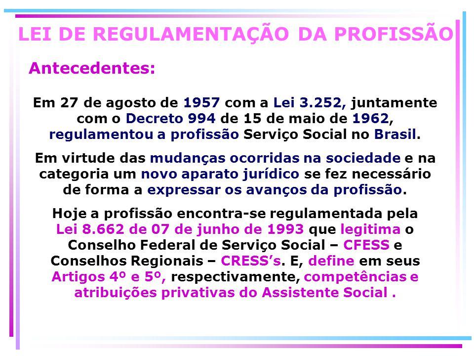LEI DE REGULAMENTAÇÃO DA PROFISSÃO
