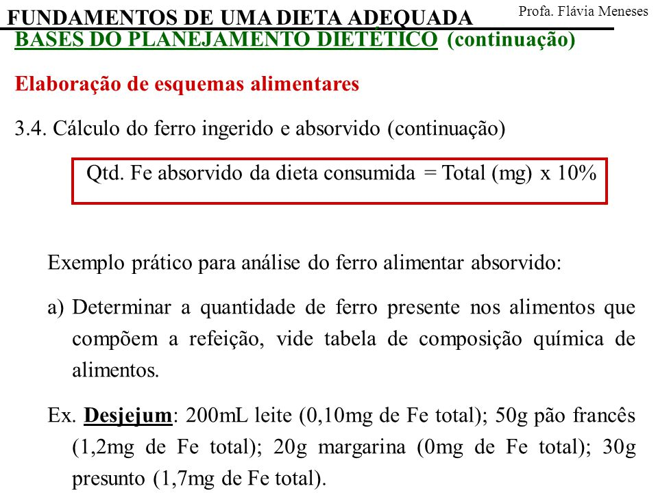Qtd. Fe absorvido da dieta consumida = Total (mg) x 10%