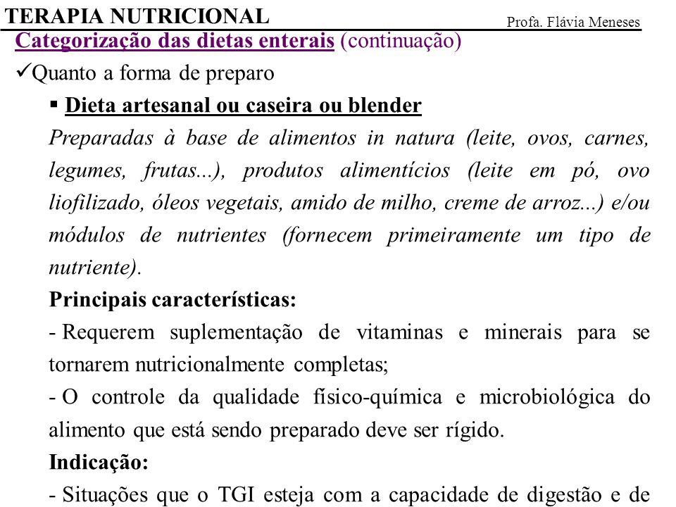 Categorização das dietas enterais (continuação)