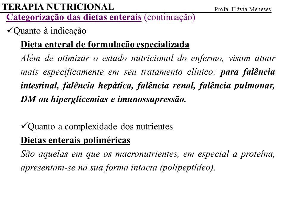 Categorização das dietas enterais (continuação) Quanto à indicação