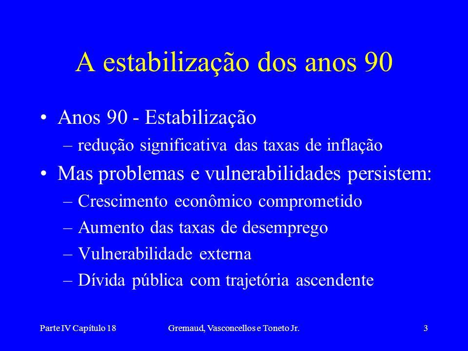 A estabilização dos anos 90