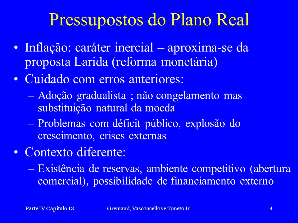Pressupostos do Plano Real
