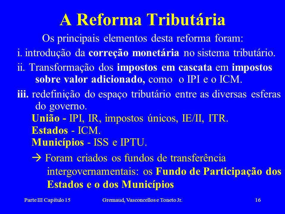 A Reforma Tributária Os principais elementos desta reforma foram: