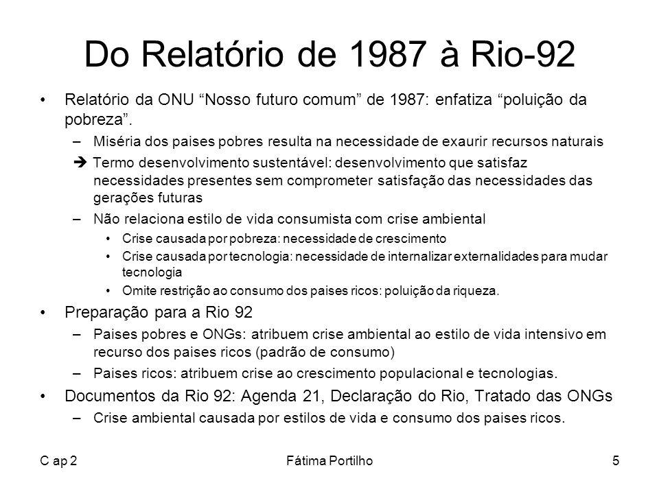 Do Relatório de 1987 à Rio-92 Relatório da ONU Nosso futuro comum de 1987: enfatiza poluição da pobreza .