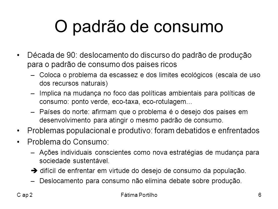 O padrão de consumo Década de 90: deslocamento do discurso do padrão de produção para o padrão de consumo dos paises ricos.