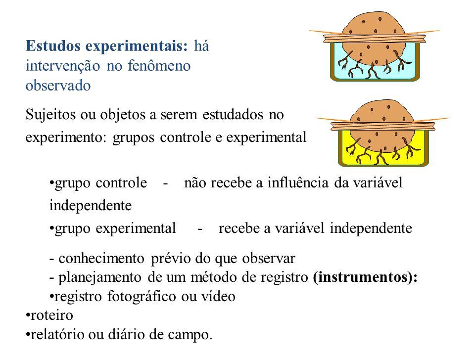 Estudos experimentais: há intervenção no fenômeno observado