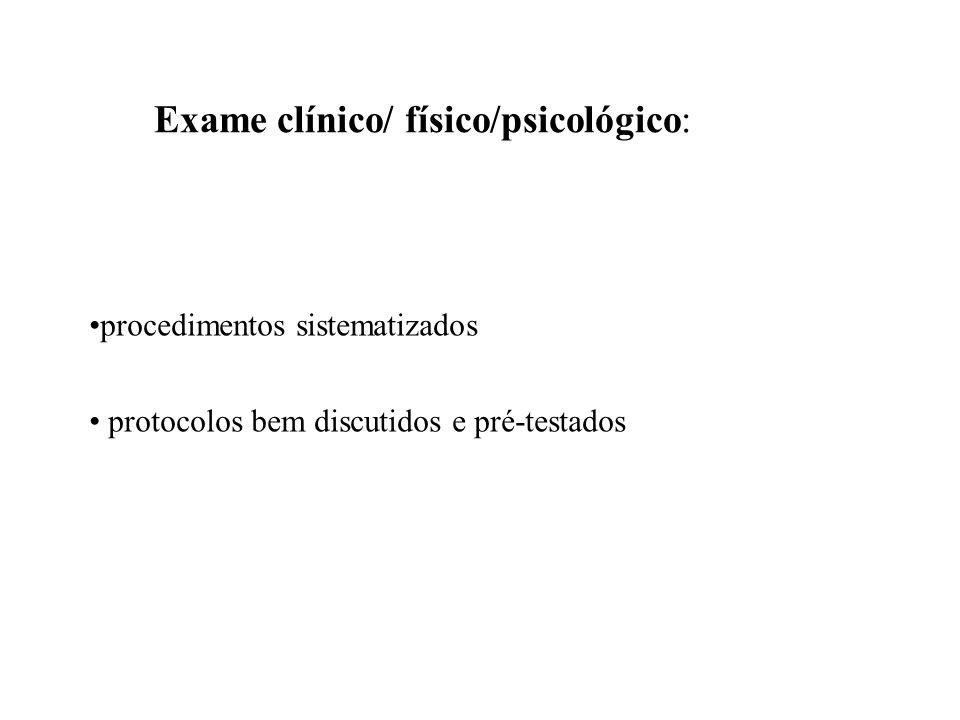 Exame clínico/ físico/psicológico: