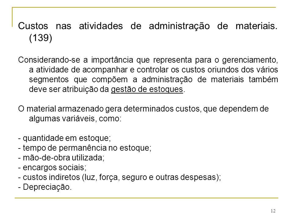 Custos nas atividades de administração de materiais. (139)