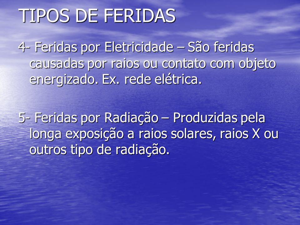 TIPOS DE FERIDAS 4- Feridas por Eletricidade – São feridas causadas por raios ou contato com objeto energizado. Ex. rede elétrica.