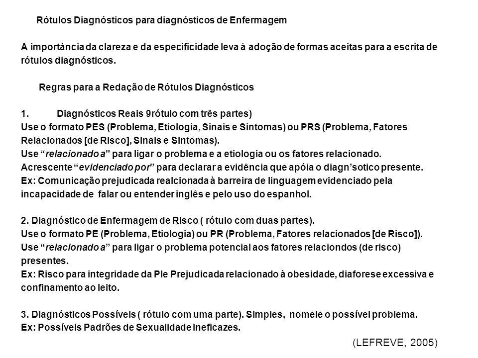 Rótulos Diagnósticos para diagnósticos de Enfermagem
