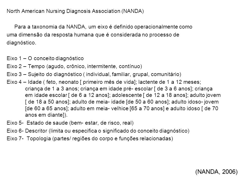 (NANDA, 2006) North American Nursing Diagnosis Association (NANDA)