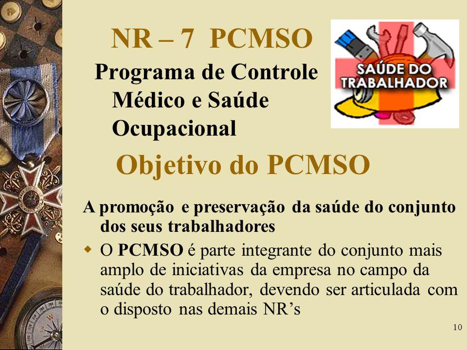 NR – 7 PCMSO Objetivo do PCMSO