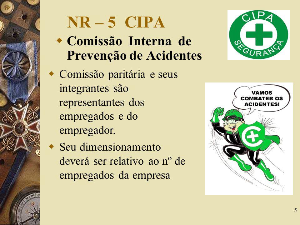 NR – 5 CIPA Comissão Interna de Prevenção de Acidentes