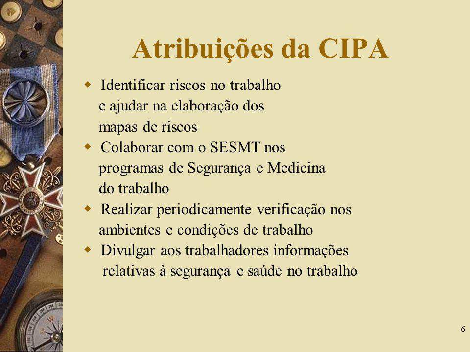 Atribuições da CIPA Identificar riscos no trabalho