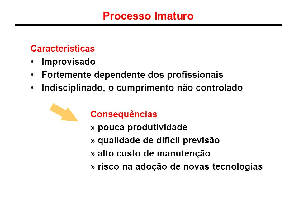 Processo Imaturo Características Improvisado