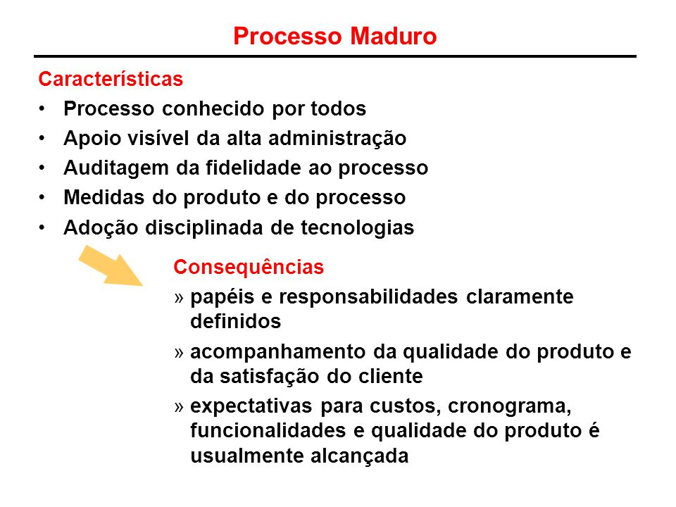 Processo Maduro Características Processo conhecido por todos