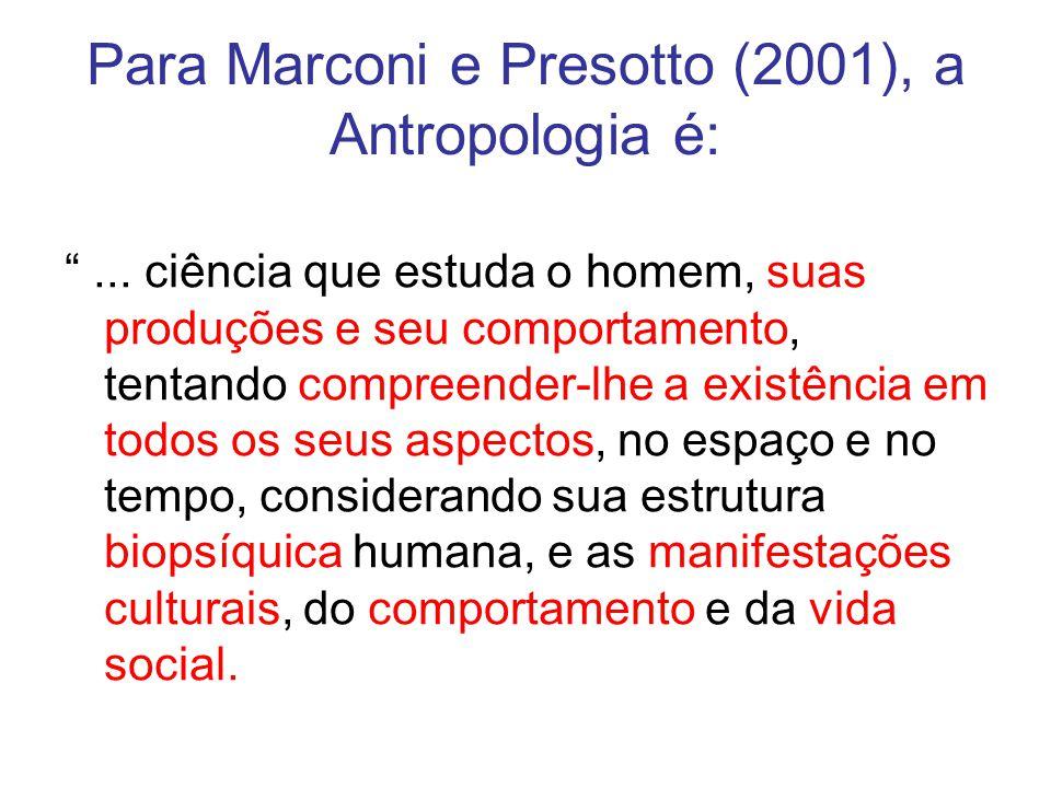 Para Marconi e Presotto (2001), a Antropologia é: